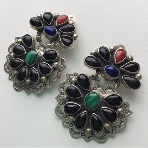 Santo Domingo Silver Malachite Onyx Lapis Earrings